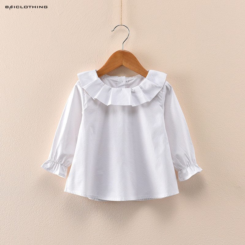 2017 Hot Sale Autumn Spring Baby Girls Shirts&Blouses Peter Pan Collar Ruffles Children 100% Cotton Base Shirt Kids Clothing