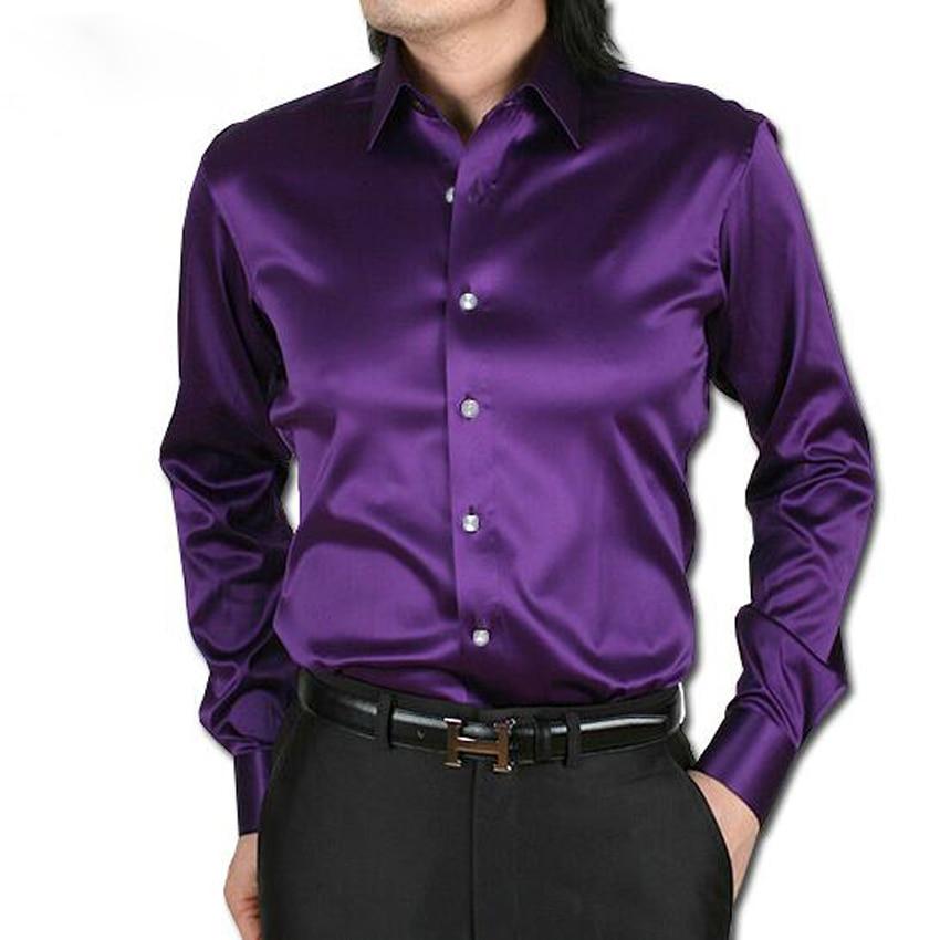 New 2016 men wedding dress shirts high quality long sleeve for Long sleeve silk shirt dress