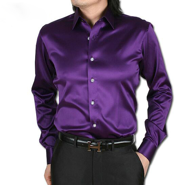 New 2016 Men Shirts High Quality Long Sleeve Silk Shirt Slim Fit S