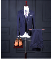 Fashion Tailor Made Blue stripes Man Suit Italian Style Slim Fit 3 Piece Mens Wedding Party Suits Bridegroom (Jacket+Pants+Vest)