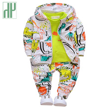 HH Boys fashion 3pcs children clothing set dinosaur animal print Hooded boutique kids baby girl clothes 1 2 3years