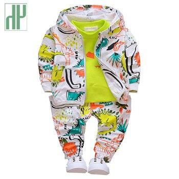 c2f80dab8 Juego de ropa para niños de 3 piezas a la moda con estampado de animales de  dinosaurio boutique con capucha Ropa para Niñas 1 2 3 años