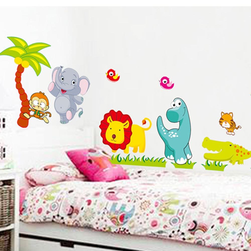 Big Jungle Animals Bridge Vinyl Wall Stickers Kids Bedroom Wallpaper Decals Cute Anime Baby Children Cartoon Room Nursery Decor