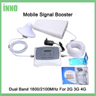 DUAL BAND 2G 3G 4G mobile signal booster 1800/2100mhz 3g4g cellular signal booster cell phone repeater amplifier kit