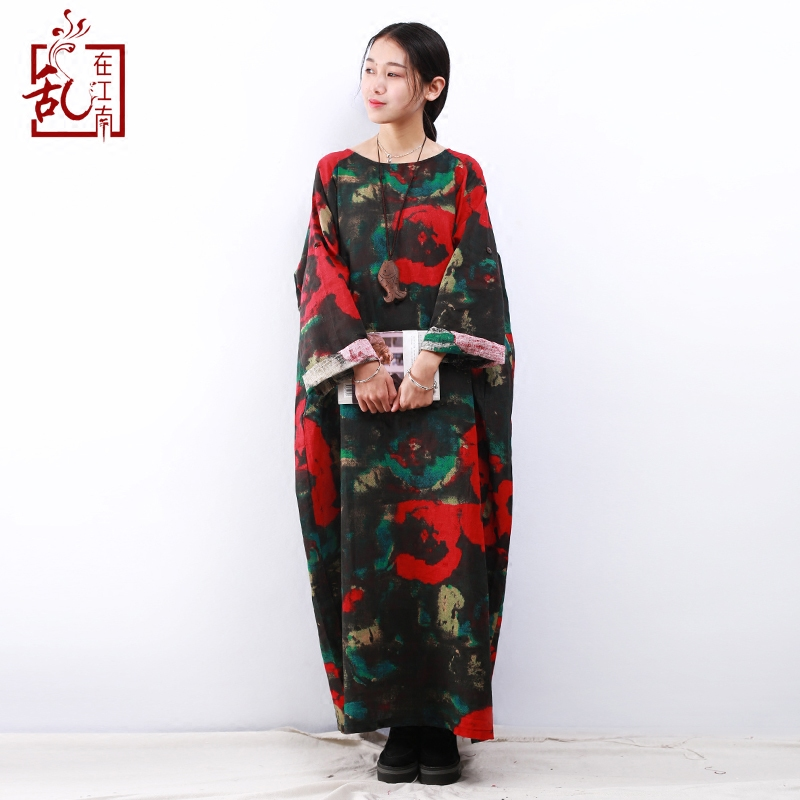 2018 Spring Maxi Dress Plus Size Women Dress Long Sleeve O neck Vintage Flower Print Robe