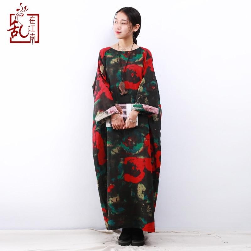 2018 Spring Maxi Dress Plus Size Women Dress Long Sleeve O-neck Vintage Flower Print Robe Cotton Linen Long Dresses Ethnic Cloth