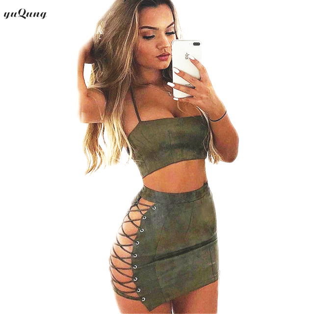 Yuqung New Two Piece Sets Sexy Faux Suede Mini Dress Suits Crop Tops