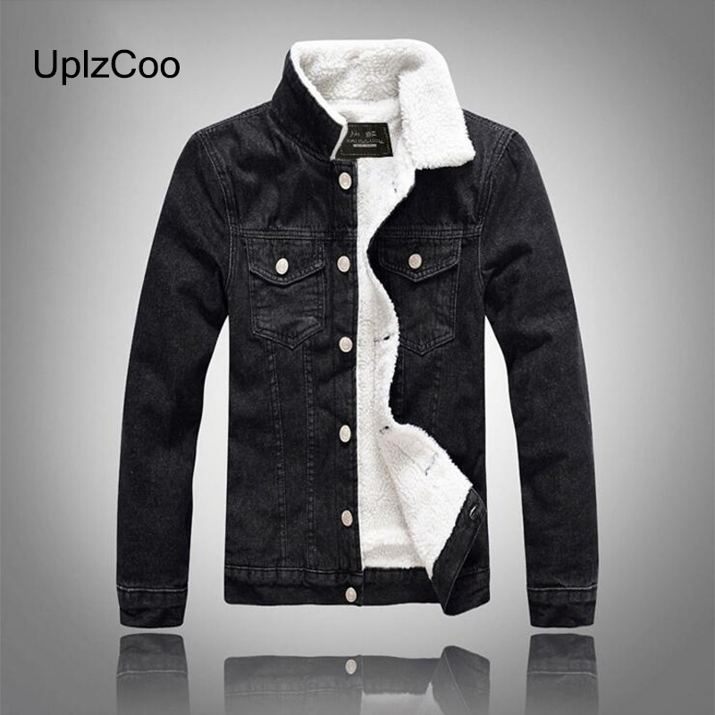 UplzCoo Men Jacket Autumn Winter New Casual Jacket Slim Jacket Zipper Fleece Black Denim Men Coat Cotton Fur Collar 5XL FM138