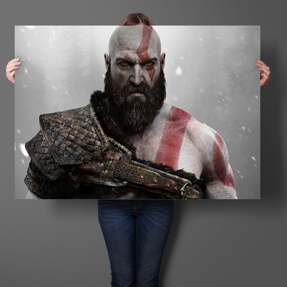 Kratos God of War Game Art Prints Silk Fabric Poster And Print Wall Art Picture Painting Home Decor Wall Sticker
