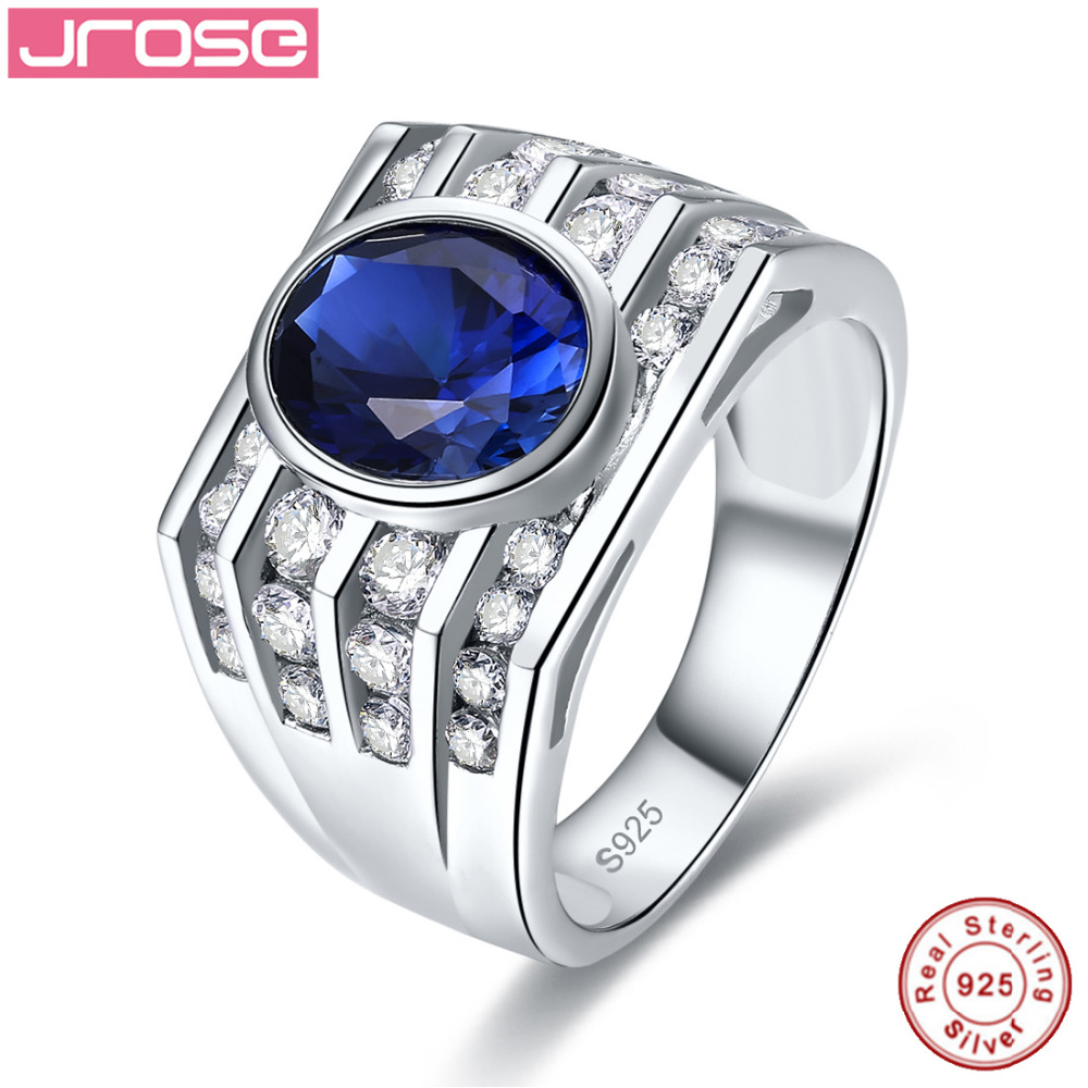Jrose 100% Blue Lab Created Solid 925 Sterling Silver Rings Women Men Engagement  Ring Cocktail