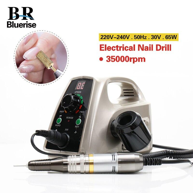 Électrique coupe-ongles 35000 rpm machine de manucure outils de pédicure Accessoires mèches Fichier Forte nail art Équipement 65 W 110 V 220 V