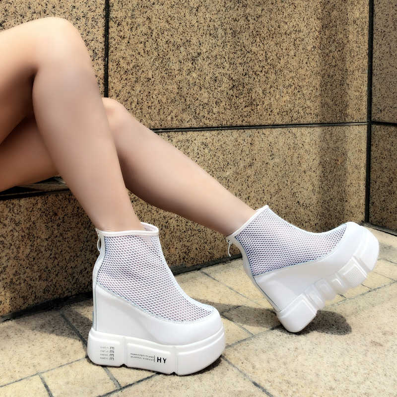 US $81.82 36% OFF|Shoes Sneakers Mesh Yellow Harajuku Hidden White Platform Boots Flatform Extreme High Heel Women Leopard Print Booties Muffin in