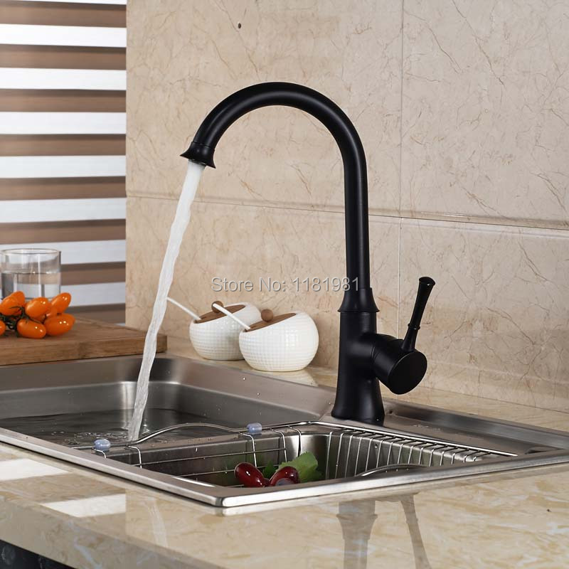 Oil Rubbed Black Bronze Finish Swivel Singe Handle Bathroom Basin Kitchen Deck Mounted Sink Mixer Tap
