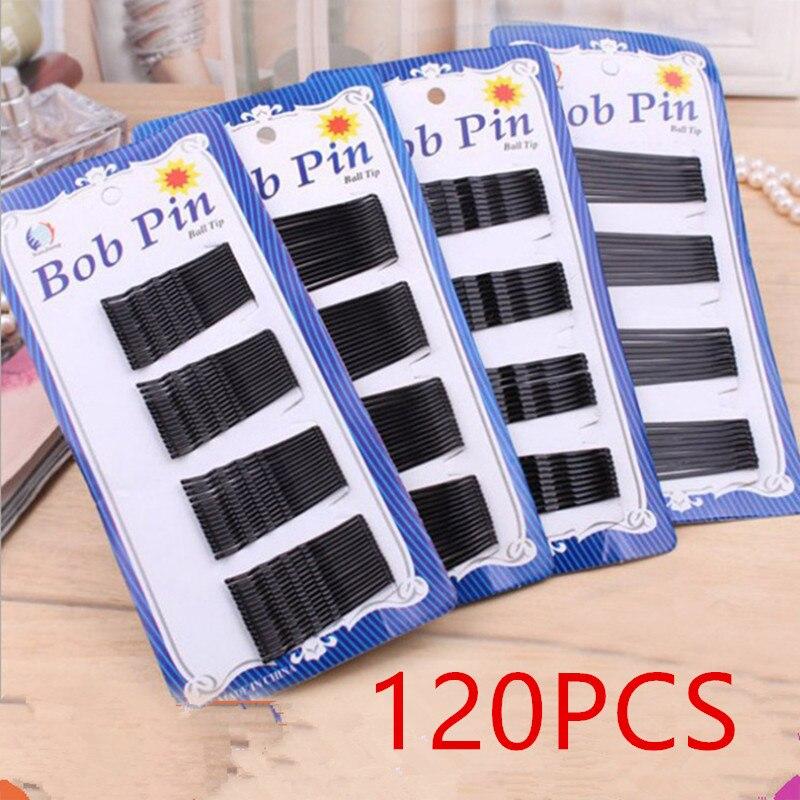 120 pcs acessórios de cabelo grampos de cabelo para senhoras grampo de cabelo invisível encaracolado ondulado apertos salão de beleza barrette preto barrette