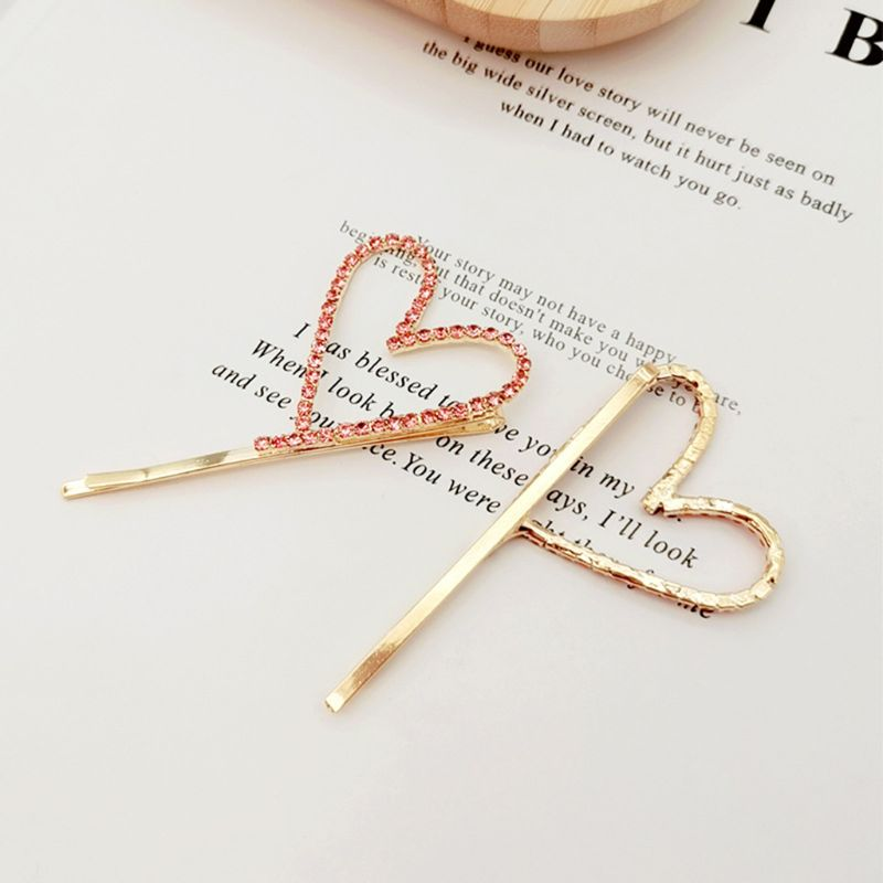 Korean Minimalist Cute Hollow Heart Hair Clip Women Colored Rhinestone One Word Hairpins Metal Alloy Side Bangs Styling Barrette in Women 39 s Hair Accessories from Apparel Accessories
