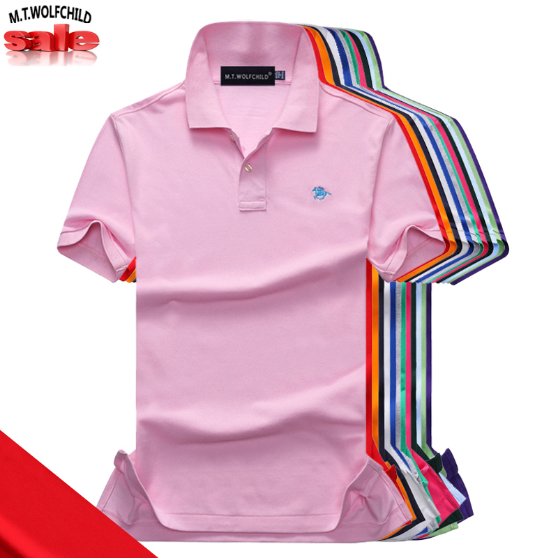 Fashion 16 Colors 2019 Summer Men's short sleeve   polos   shirts 100% cotton casual small horse brand lapel   polos   shirts mens tops