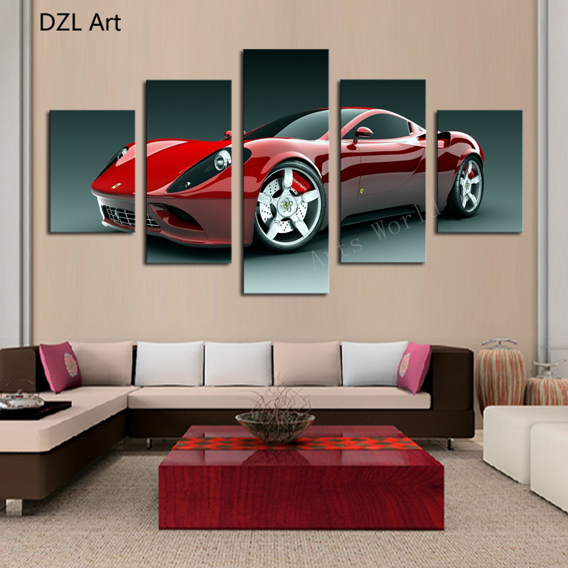 5 Pcs(No Frame) Red Sports Car Wall Art Picture Home