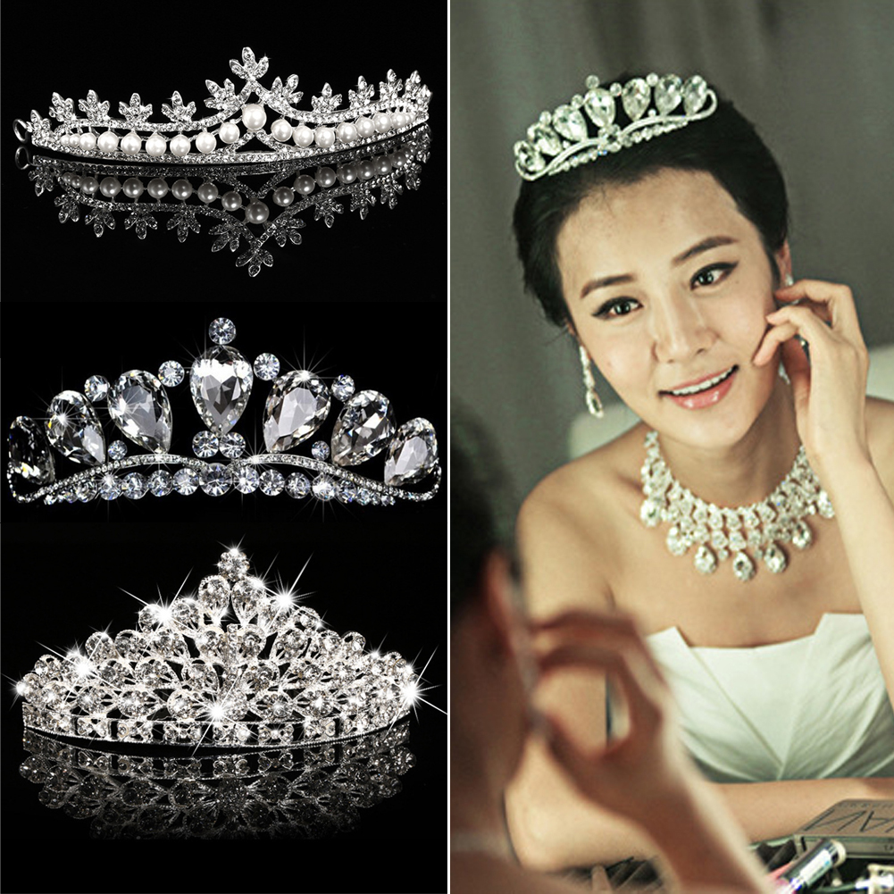 Gorgeous Wedding Hair Accessories Crystal Pear Diamante Tiaras And Crown Headwear Rhinestone Crown Bride Hair Jewelry SL