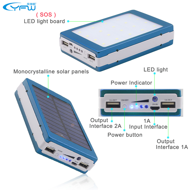 YFW Solar Charger 12000mAh Power Bank 20PCS LED Lamps Powerbank Portable External Battery Packup For iPhone Samsung Universal