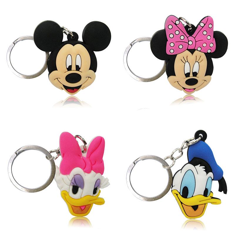 1PCS Mlckey Minnie PVC Keychains Cartoon Figure Key Ring Cute Key Holder Children DIY Toy Pendant Xmas  Party Gifts
