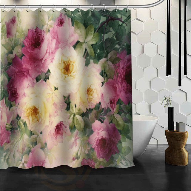 shower curtain shower environmentally friendly. ShunQian Romantic Beautiful Roses Pattern Custom Shower Curtain Bath Waterproof Eco-Friendly Environmentally Friendly T