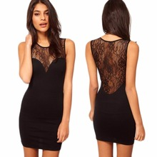 Women's Summer Sexy Lace Hollow out Sleeveless Slim Hip Bodycon Vestido Cocktail Club Party Round neck Black Mini Dress black casual bodycon round neck hollow design mini dress