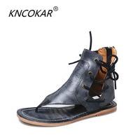 Spring, summer, comfortable Roman flat sandals tassel high help clip toe herringbone wedges cool boots