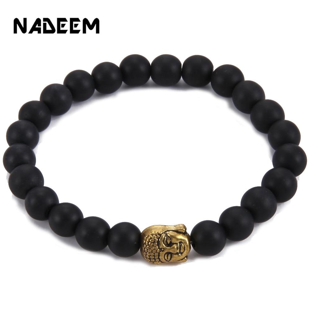 e975940f3f11 Antiguo chapado en oro plata Cabeza de Buda Pulsera Yoga Rosario negro mate  cuentas de piedra pulseras para hombres