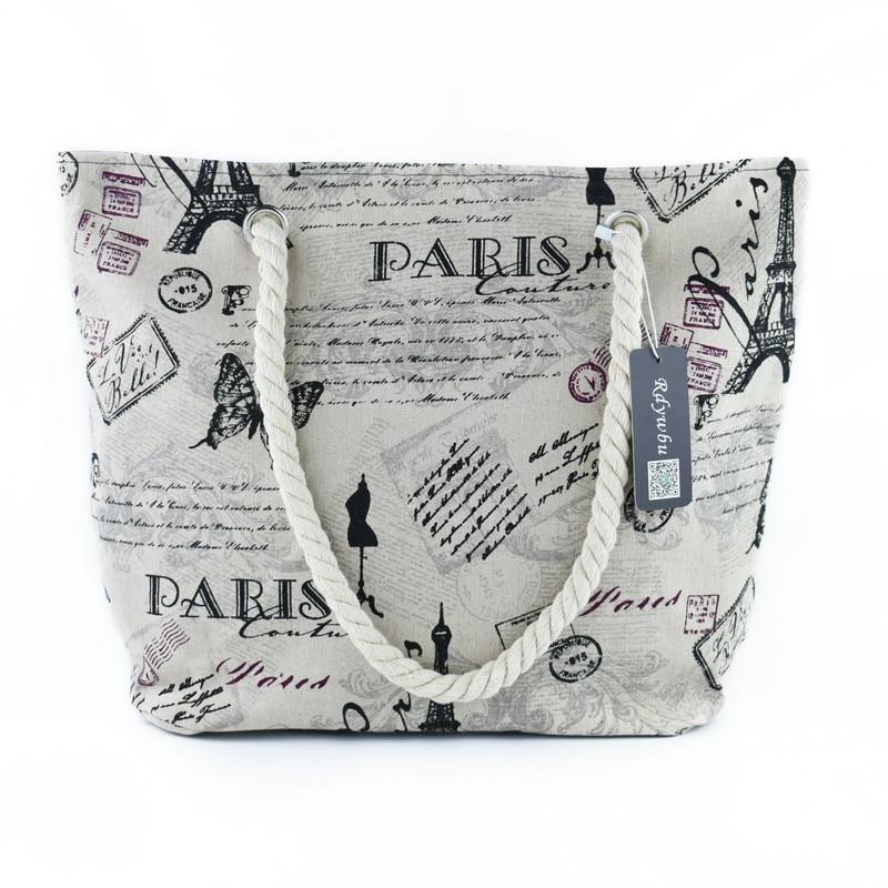 Rdywbu 2018 Paris Tower Shell Printing Canvas Beach Shoulder Bag Women's Creative Rope Shopping Bag Big Summer Tote Handbag B103 1