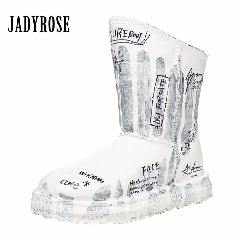 Jady Rose 2019 mode Graffiti lettres bottes de neige femmes hiver chaud fourrure bottes femme plate-forme Botas Mujer plat bottine