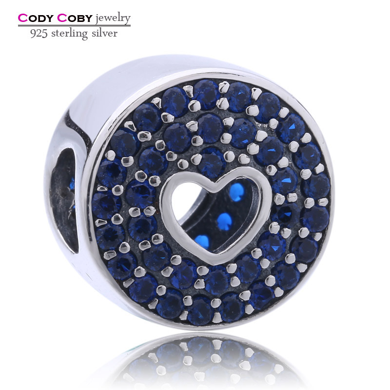 Real 925 sterling silver jewelry Charms Anniversary Celebration Blue CZ Beads Fit Pandora Bracelets For Women Original Jewelry