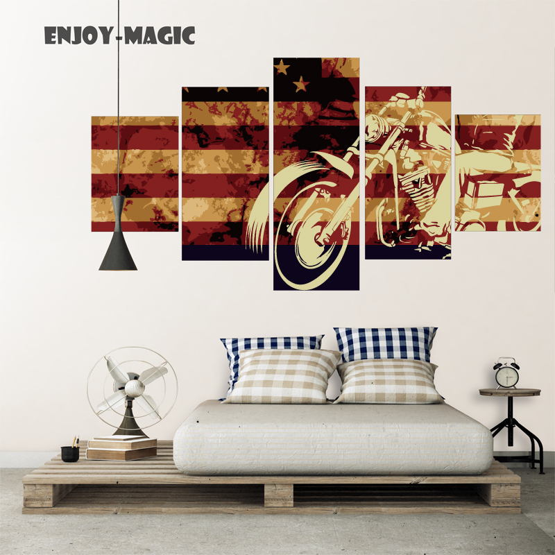 Home Decor Canvas Flag Usa Motorcycle Harley Davidson