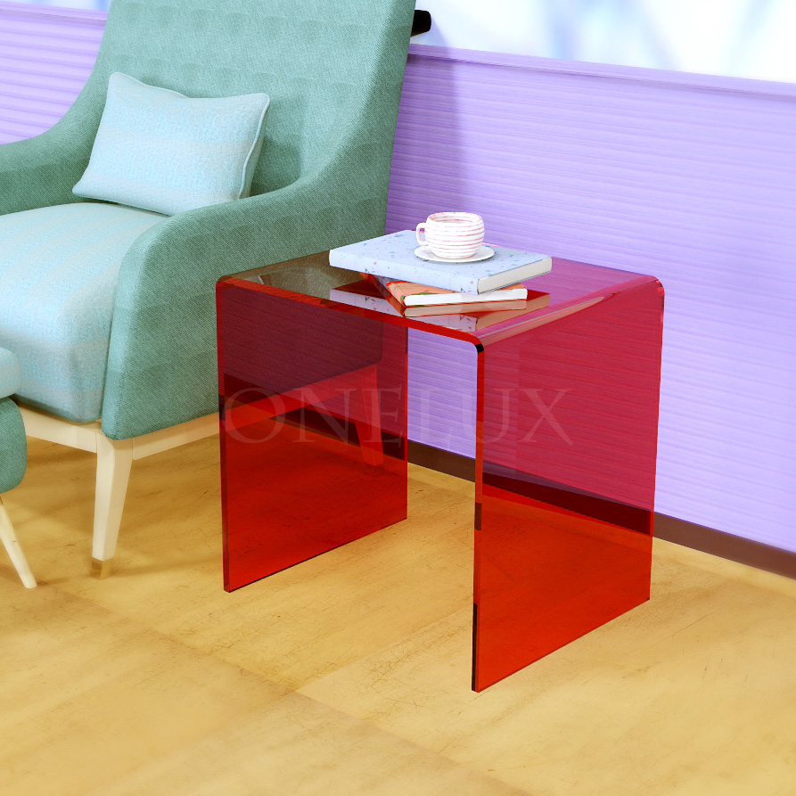 Waterfall Acrylic Occasional Sofa Nightstand Table,Lucite Plexiglass U Tables,Perspex Side Laptop Tables - Various colors hot sale c shaped waterfall acrylic occasional side table
