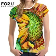 FORUDESIGNS Womens T-Shirt Women 2018 T shirt Eyes tops Femme Sunflower Van Gogh Print t Feminina Tshirts Uzzlang S