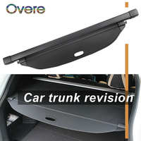 Overe 1Set Car Rear Trunk Cargo Cover For Hyundai Santa Fe 2017 2018 Car styling Black Security Shield Shade Auto accessories