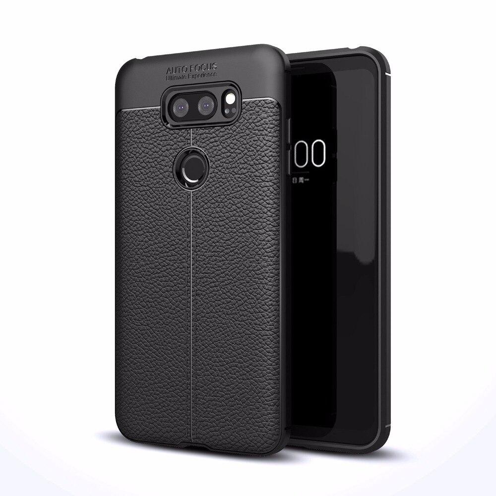 Для LG V30 ультра тонкий искусственная кожа чехол противоударный Гибкая Резина TPU силиконовая защитная крышка делам для LG V30S thinQ