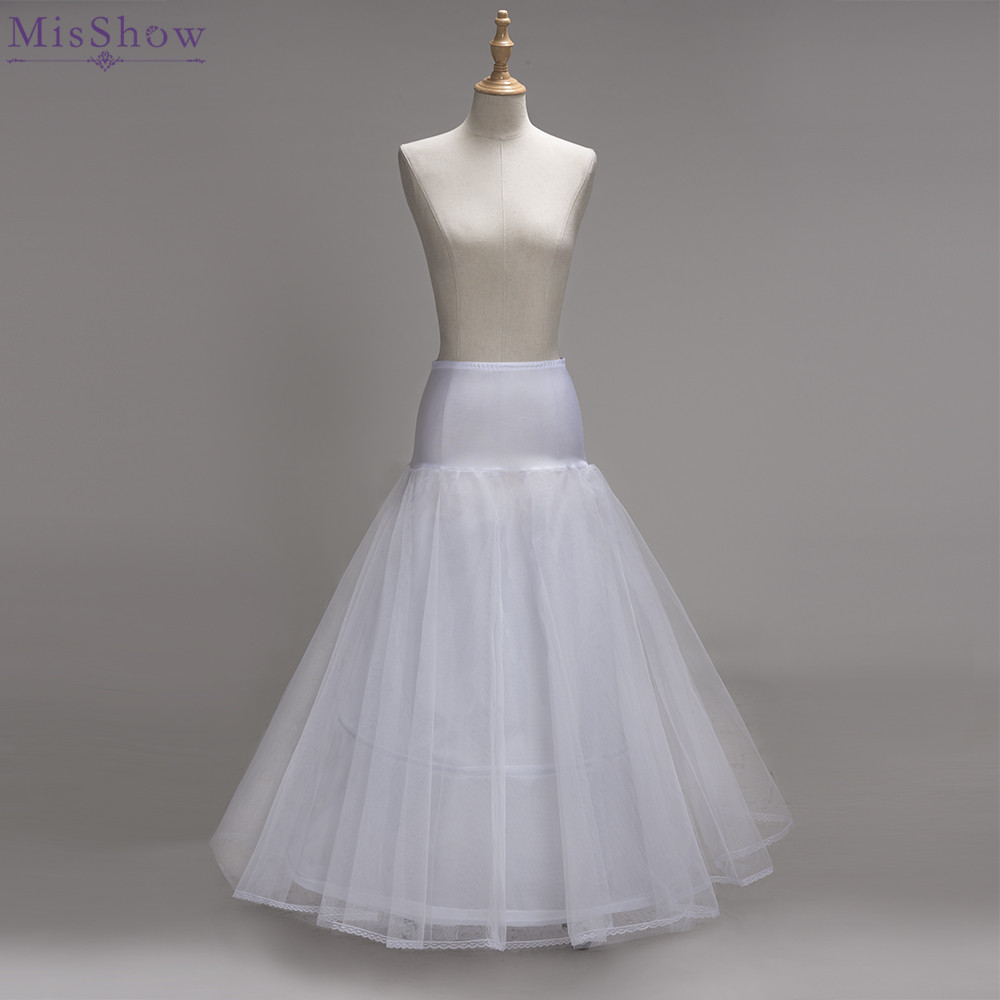 MisShow 2018 2 Hoops A Line One Tulle White Lace Edge Wedding Petticoat Wedding Accessories Crinoline Petticoat Wedding Skirt