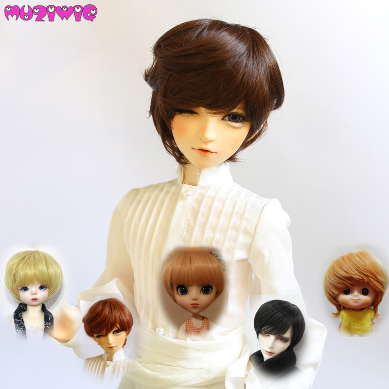 Doll Short Wigs Heat Resistant Wire Brown Blonde Black Wigs for 1/3 1/4 1/6 BJD Dolls AccessoriesDoll Short Wigs Heat Resistant Wire Brown Blonde Black Wigs for 1/3 1/4 1/6 BJD Dolls Accessories