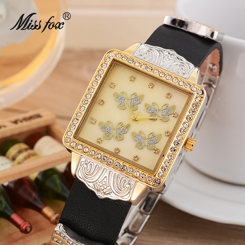 Miss Fox Dress Watch Female Rhinestone Butterfly Stainless Steel Back Leather Band Quart-watch Flower Article Xcfs Horloge Dames цена