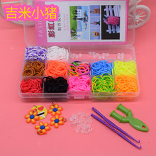 600PCS 12 Color Loom Bracelet Toys For Children Rubber Band Kits Craft Toy 1Hook Colorful DIY Loom Bracelets Girl Hair Band Gift(China)