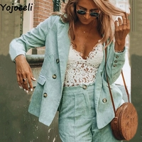 Yojoceli Autumn corduroy suits blazer women Winter sexy elegant office ladies blazer Casual basic blazer female jackets