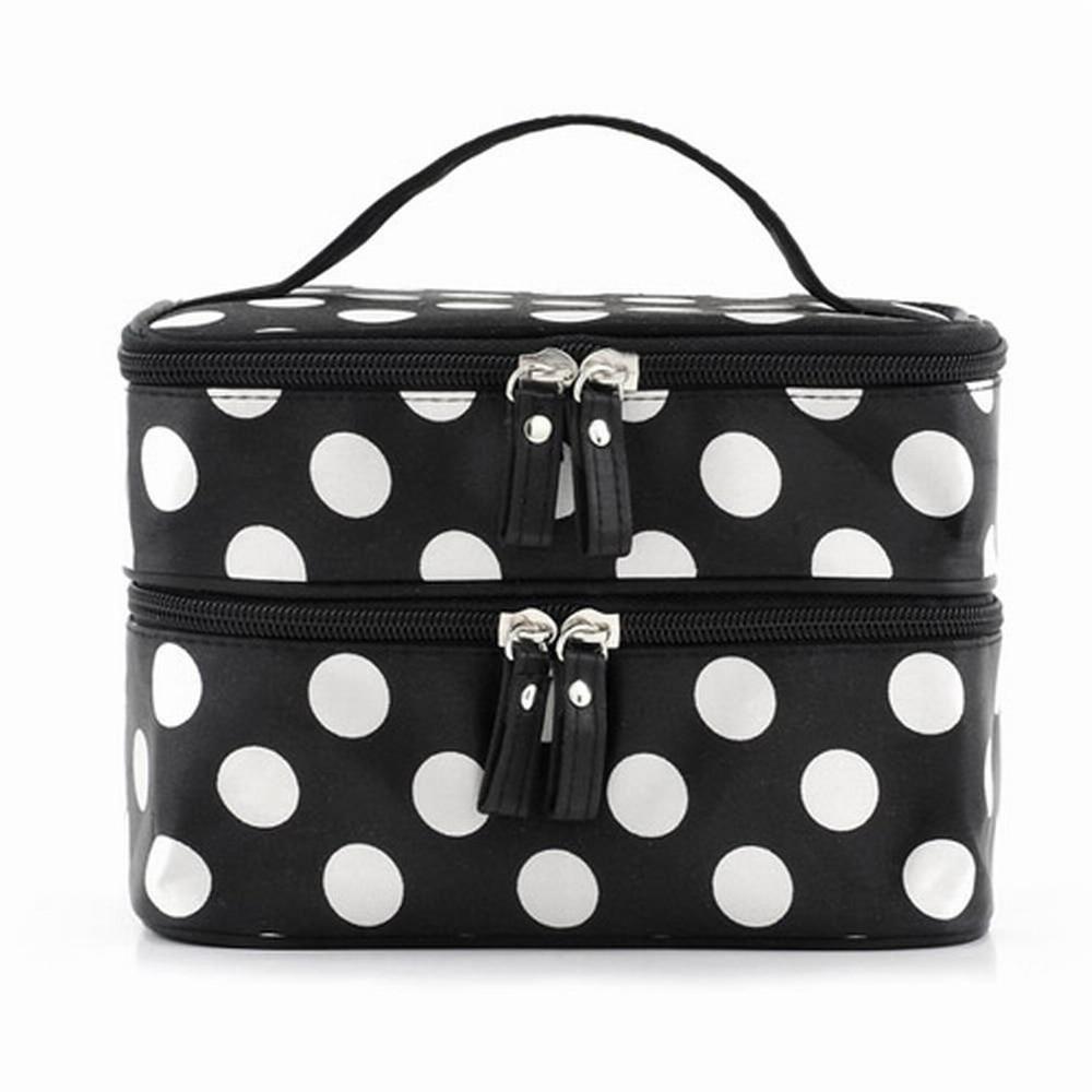 Black Large Capacity Cosmetic Bag Woman Dots Portable Storage Makeup Bags Canvas Beauty Organiser Handbag font