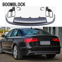 1set Car Modifie Rear Bumper Diffuser For Audi A6 C7 2012 2013 2014 2015 2016 4 door Sedan Exhaust Tips Muffler Pipe Accessories