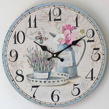 2016 Hot Sale Flower Wall Clock Modern Design Wooden Hanging Vintage Chic Wall Clocks Decor Watch Wall Wood Home Decor