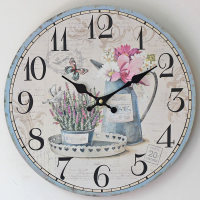 2016 Hot Sale Flower Wall Clock Modern Design Wooden Hanging Vintage Chic Wall Clocks Decor Watch