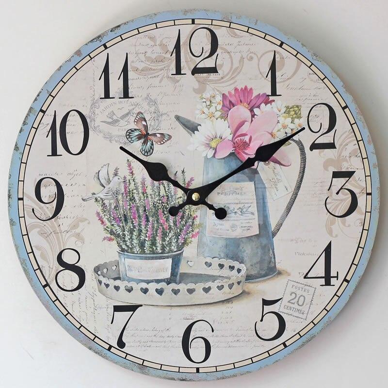 2016 Hot Sale Flower Wall Clock Modern Design Wooden ...