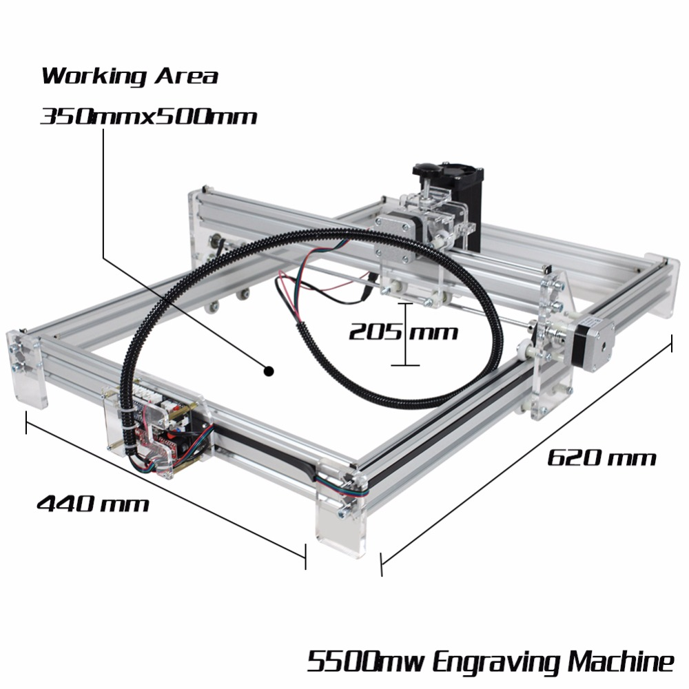 2500mW Desktop DIY Laser Engraver Engraving Machine CNC Printer aluminium alloy and acrylic Material A3 35*50cm Working Area dk bl 1500mw laser power diy laser engraving machine desktop art laser engraver printer bluetooth 4 0 6000mah