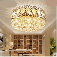 Round Warm European Style Golden Bedroom Crystal Lamp Fashionable Led Living Room Restaurant Lighting Ceiling Lights