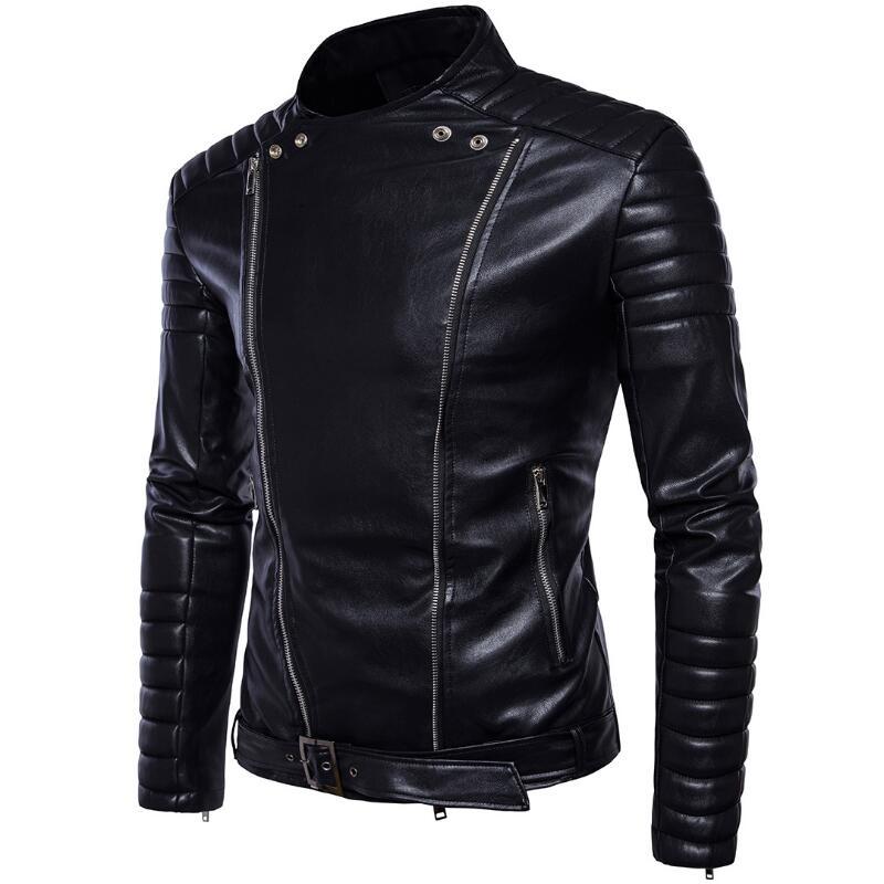 Plus Size Men Leather Jackets Top Quality Slim Motorcycle Leather Jackets Youth Popular Bomber Jacket
