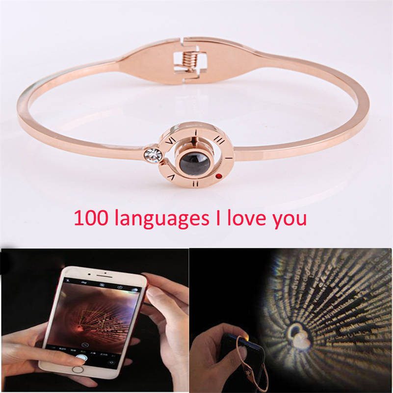 Fashion 100 Languages I Love You Memory Bracelets Men Women Projection Steel Jewelry Lover Christmas Gift Drop shipping pulseras in Charm Bracelets from Jewelry Accessories
